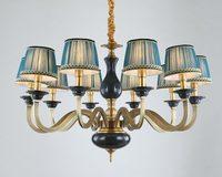 Modern Real Bronze Copper Chandelier for Bedroom Dining Living Room with Ceramics Blue Luxury Chandelier Fixtures BLC105