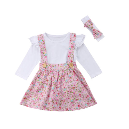 b90a0f1843c1c Toddler Baby Girl Outfit Solid Ruffle Long Sleeve Romper Top+Braces Skirt  Dress +Headband 3PCS-in Clothing Sets from Mother & Kids on Aliexpress.com  | ...