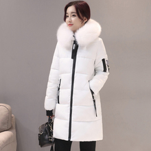 b 2018 New Fashion Women Winter Jacket With Fur collar Warm Hooded Female Womens Coat Long Parka Outwear Camperas