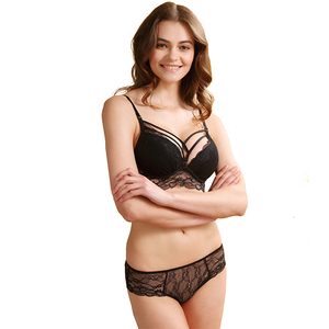 Image 2 - Sexy Mousse sexy lace Padded bra Breast gather adjustable Underwear Sets for Women Lace deep V neck Push up Bra sets A B C D Cup