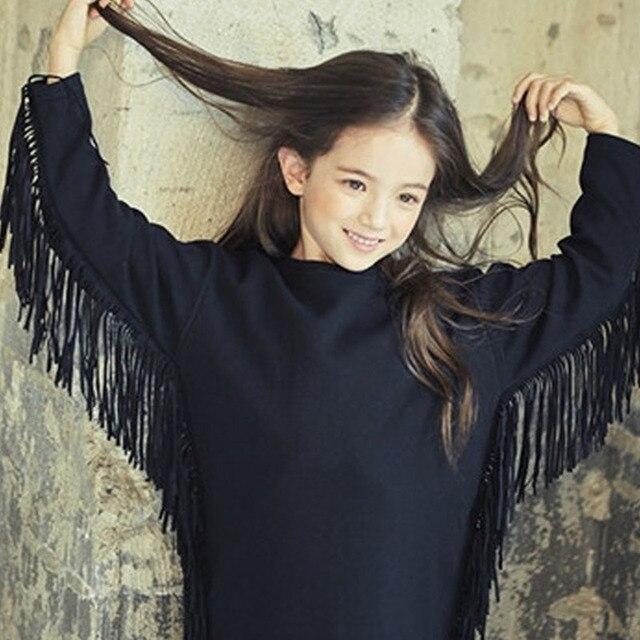 d885cdb6a Borlas de lana niñas vestido de manga larga negro grueso adolescente niñas  vestidos otoño invierno 2017