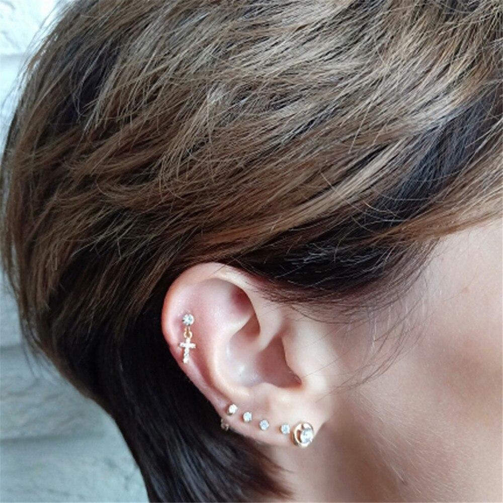1 Piece Dangle Earring Zircon Heart Star Ear Studs Ear Tragus Cartilage Fashion Earrings Gifts For Women Jewelry New Arrival