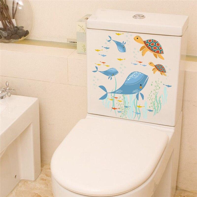 Подводный рыба черепаха стены Наклейки надписи искусство окна ванной Холодильник туалет ванная комната украшения