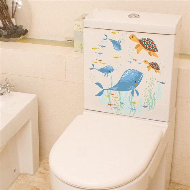 Underwater Fish Tortoise Wall Stickers Decals Art Bathroom Window Refrigerator Toilet Decoration