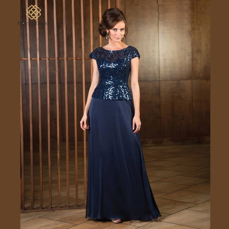 Navy Blue 2017 Mother Of The Bride font b Dresses b font A line Cap Sleeves