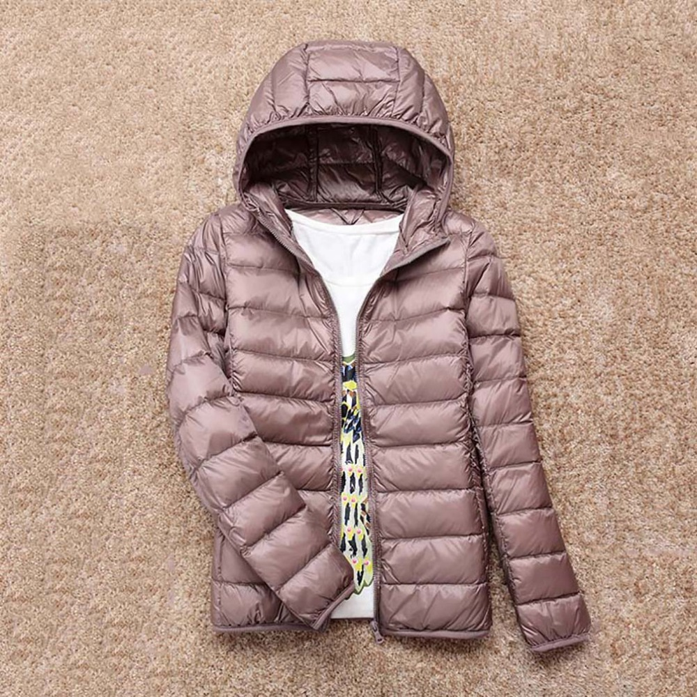 Jacket Women Coat Hooded Thin Winter Brand Warm Ultra-Light with Bag Autumn 90%White-Duck-Down