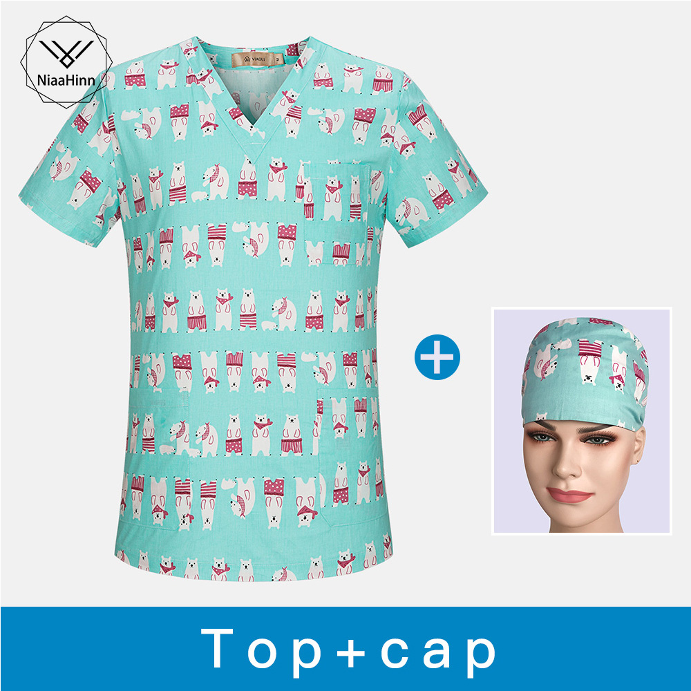 Medical Clothes Cotton Scrub Tops Nursing Uniforms Medical Masks Hospital Clothing Surgical Gown Medical Uniforms Surgical Cap
