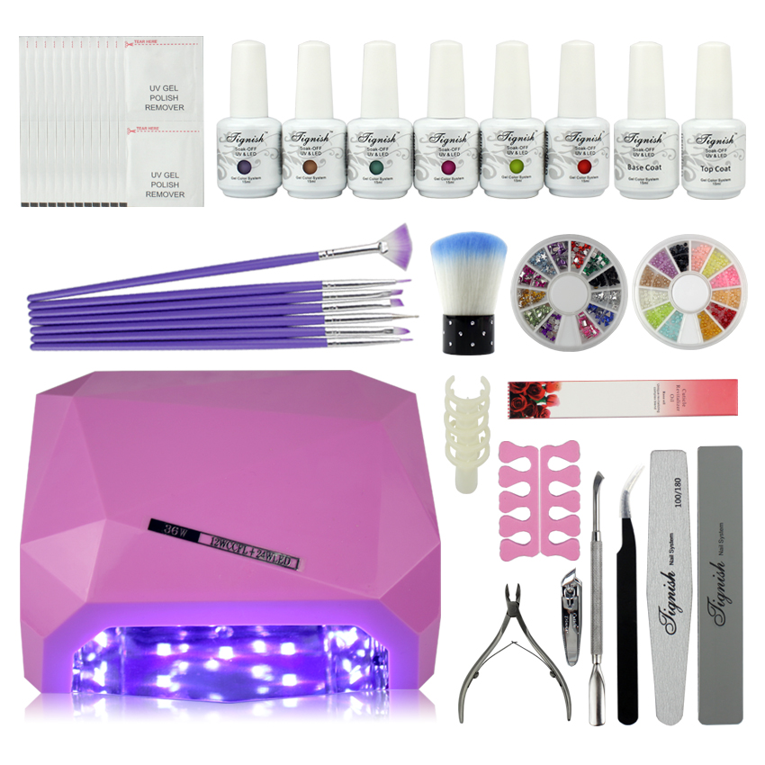 Pro Gel Polish Set Soak Off LED UV Gel Kit SUN36W Curing Lamp Nail Art Diy Tools With Base Top Coat Buffer File Remover nail art manicure tools set uv lamp 10 bottle soak off gel nail base gel top coat polish nail art manicure sets