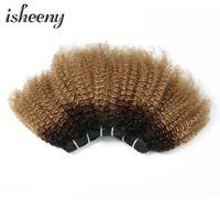 Isheeny Afro Kinky Curly Hair Weaving 12 20 Omber Color T1B/4/27 Hair Bundles 1 Piece Sew In Hair Weaves 100g