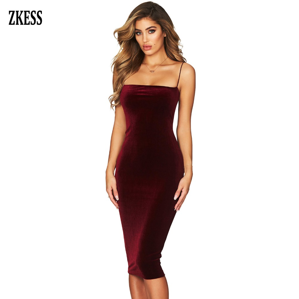 867a0e219c92 Aliexpress.com : Buy Zkess Women Black Straight Straps Strapless Velvet  Midi Dress Sexy Sleeveless Party Club Bodycon Stretched Fitted Dress  LC610967 from ...