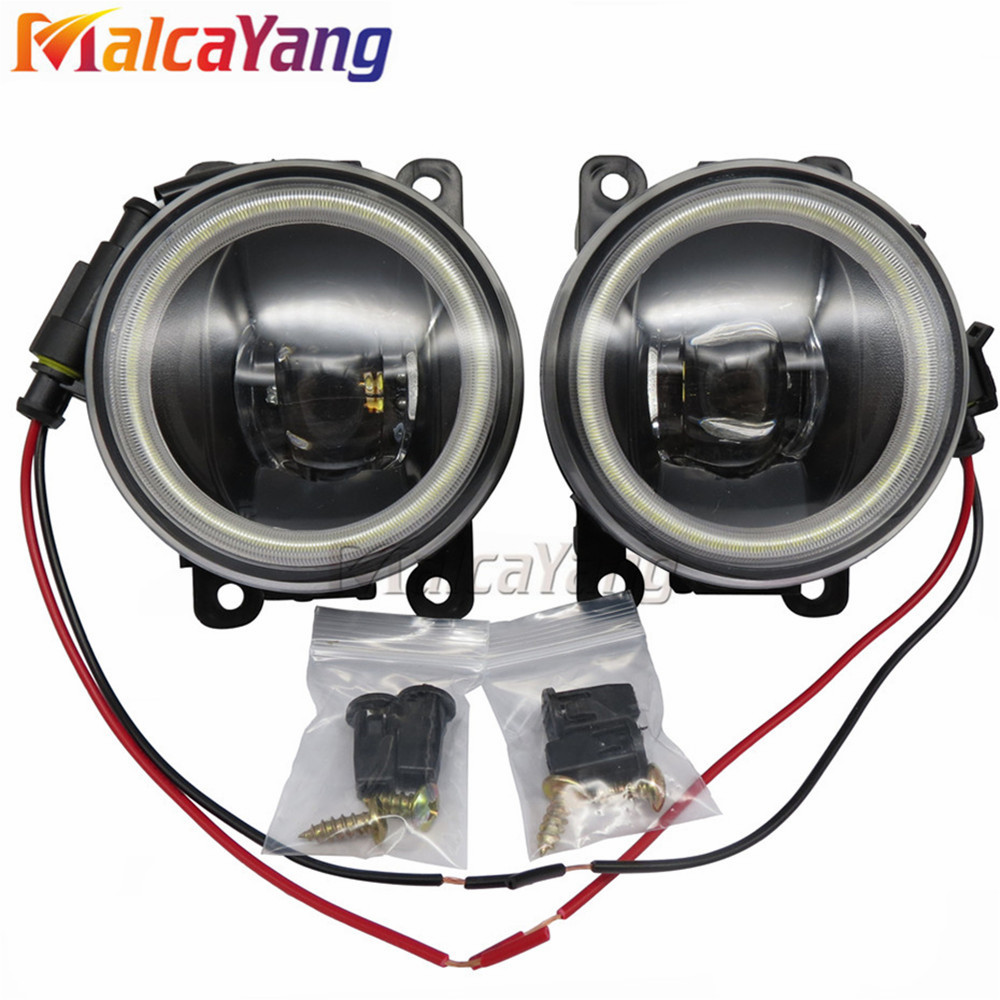 2PCS Car Styling Angel Eyes Lens LED Fog Light Lamp For Mitsubishi Outlander XL 2007-2013 12V LED Fog Lights for mitsubishi l200 outlander 2 pajero 4 grandis 2003 2015 car styling angel eyes drl led fog lights 9cm spotlight ocb lens