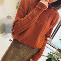 OFTBUY 2017 new fashion spring korean vintage red cropped turtleneck wool knitting oversize sweater women pullovers asymmetrical