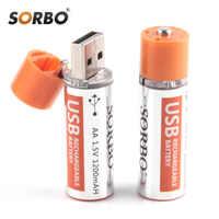 Batterie Rechargeable originale de Sorbo 4 pièces USB AA 1.5 V 1200 mAh batterie de charge rapide li-po batterie de qualité AA Batteries batterie RoHS CE