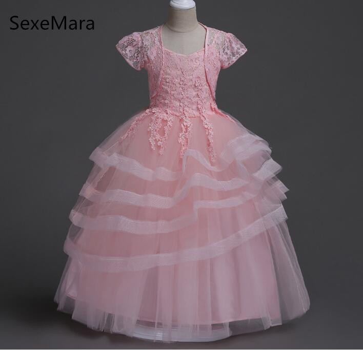 Kids Wedding Dresses For Girls Short Sleeve Birthday Party Princess Dress 4-14Y Children Bridesmaid Toddler Elegant Pageant