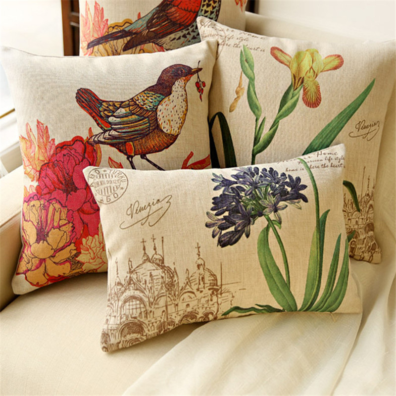 Order 1 Piece 2017 Cotton Seat Cushions Flowers And Birds Printing Cushion Chair American Country Style Window Seat Bolster