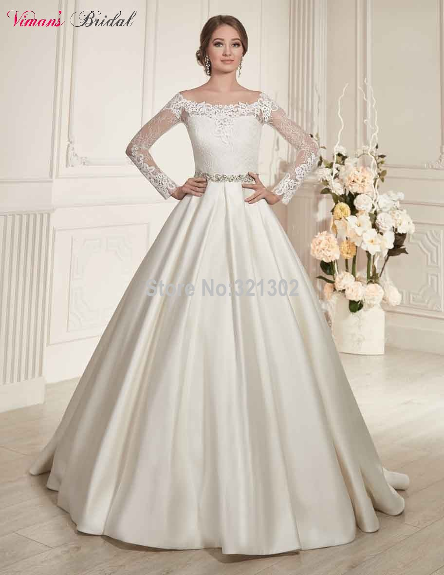 Satin Lace Boat Neck Floor Length Full Sleeves Sheer Back Wedding Gown 2017 Hot Vestido De Noiva China Free Shipping Na457 In Dresses From