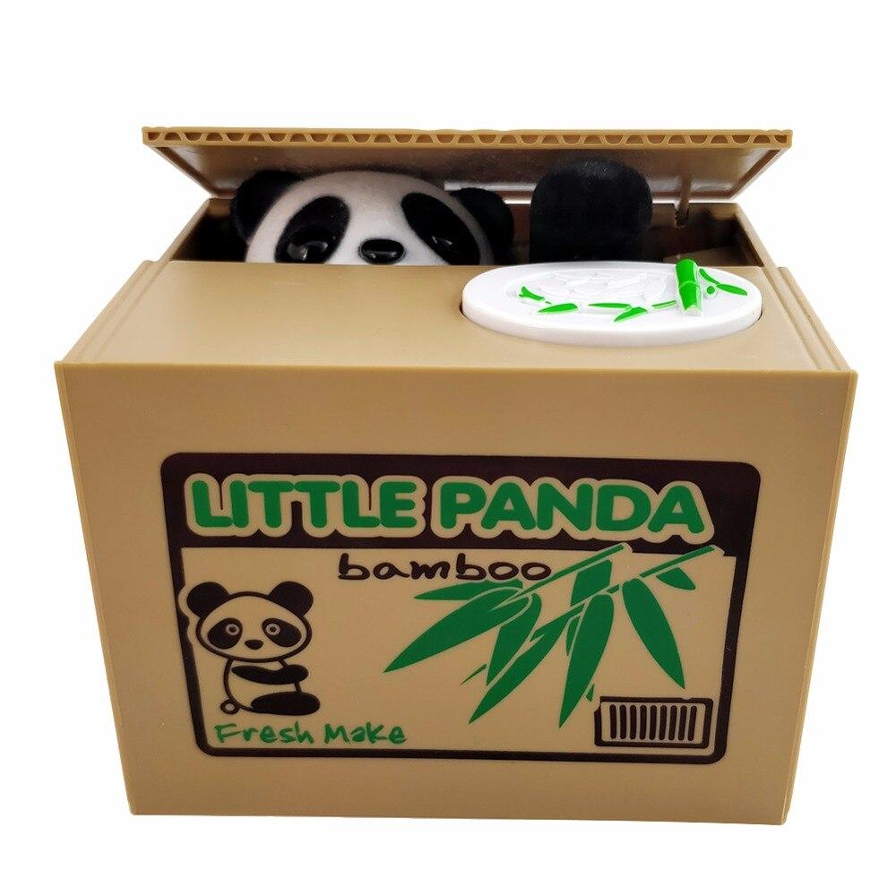 Panda gato ladrón cajas de dinero juguete piggy bancos niños regalo cajas de dinero automática robó moneda hucha caja de dinero moneybox