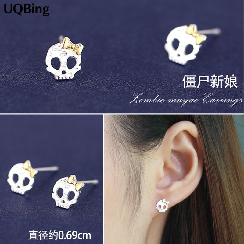 Free Shipping Fashion 925 Sterling Silver Stud Earrings Skull Stud Earrings For Women Jewelry