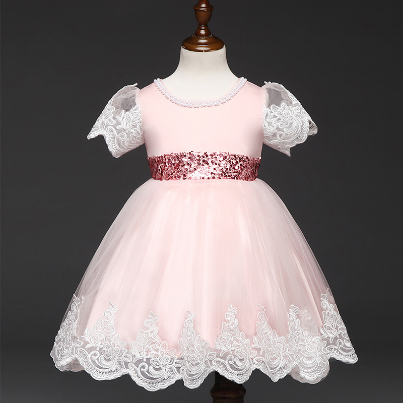 New Flower Girl Dresses for Wedding and Birthday Short Sleeve Girl Tulle Lace Dress  Infant Toddler Vestidos Big Bow Christening brandwen formal white dresses for girl tulle lace infant toddler pageant pearls girl dress for wedding and birthday vestidos