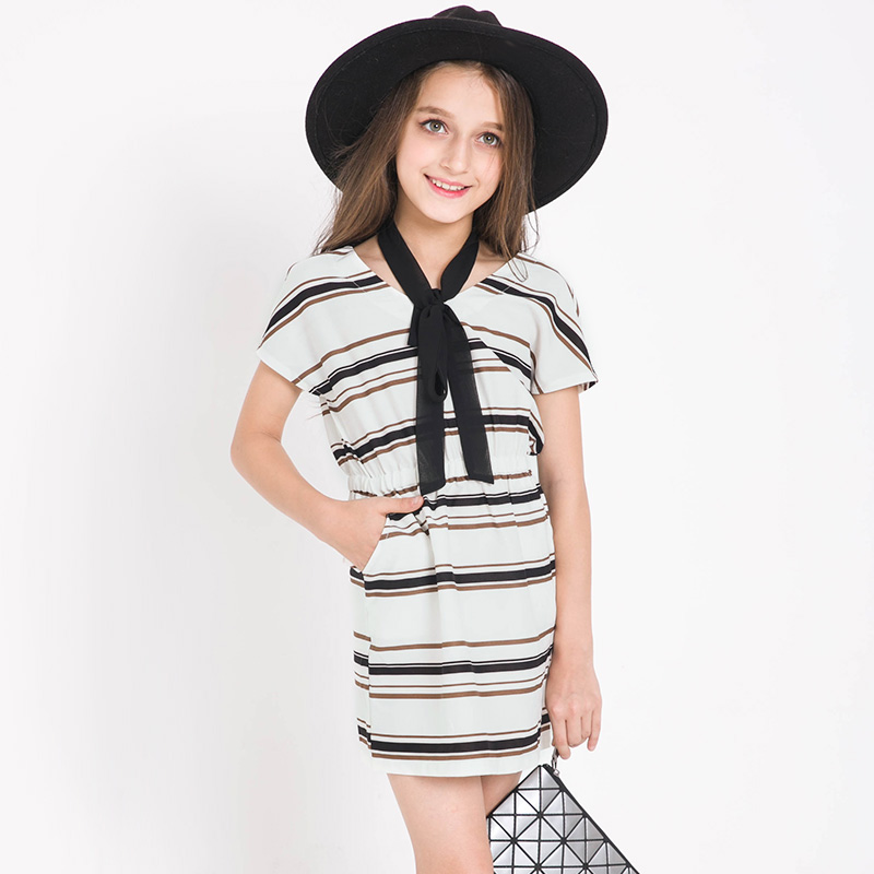 2017 Famous Brand Girls Short Sleeve Striped Summer Dress Chiffon Casual Dresses Kids Clothes 6 7 8 9 10 11 12 13 14 15 16 Years casual short sleeve round neck ruffled striped dress for girls