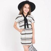 2017 Famous Brand Girls Short Sleeve Striped Summer Dress Chiffon Casual Dresses Kids Clothes 6 7