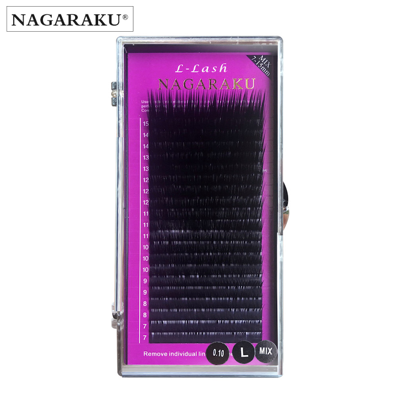 NAGARAKU L curl 7~15mm MIX 20rows/case L curl mink eyelash extension,L curl individual eyelashes,L false eyelashes. ...