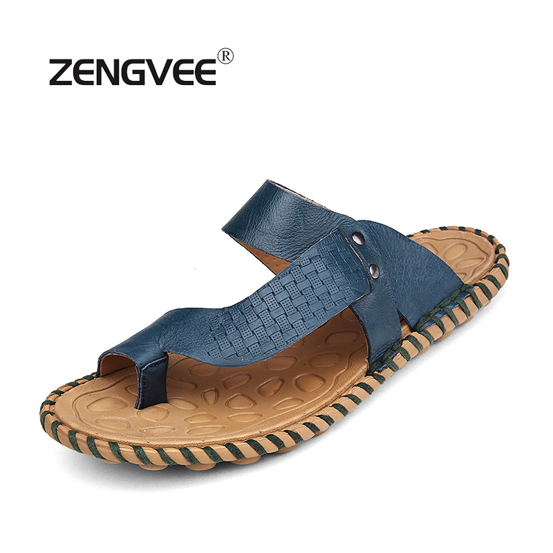 ZENGVEE  Men'S Shoes Mens Slippers Cow Leather Slip-On Spring And Summer New Handmade Sewing Thread Men Slippers Leather 2017 the spring and summer of 2016 new men s leather shoes are comfortable size kevin slip on england shoes free shipping