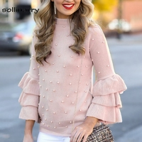 SOllinarry Ruffle O Neck Full Sleeve Light Pink Jumper Women Casual Autumn Winter Sweater Pearl Beading Regular Elegant Sweater