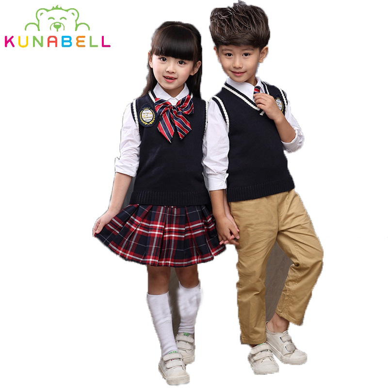 Children Teenage British Style Girls Boys School Uniforms Sets Shirt +Vest+Pant Tutu Skirt Set Performing Suit With Bow Tie L208