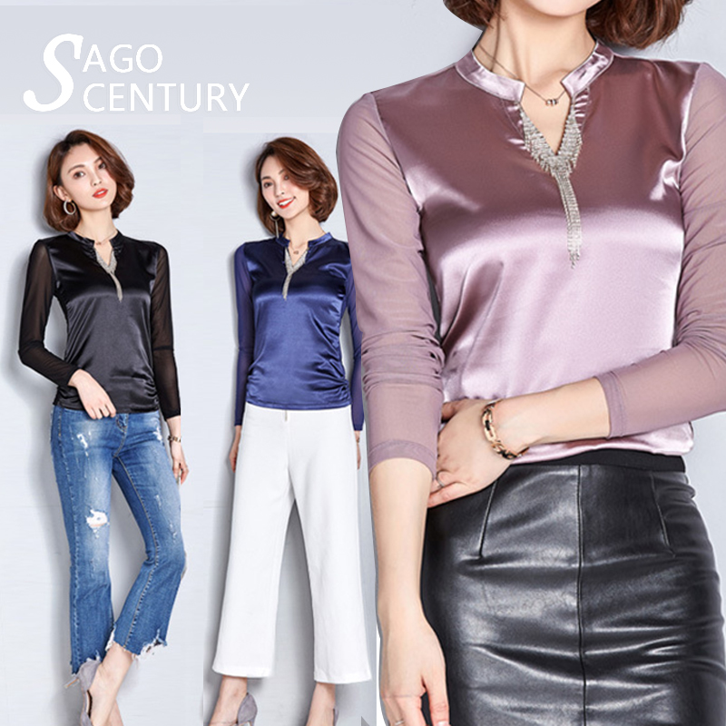 Women Fashion Tee Shirts Formal Chiffon Blouses Office Beaded Size M 3XL 3 color Silk Tops and V Neck slim Casual Blouse T