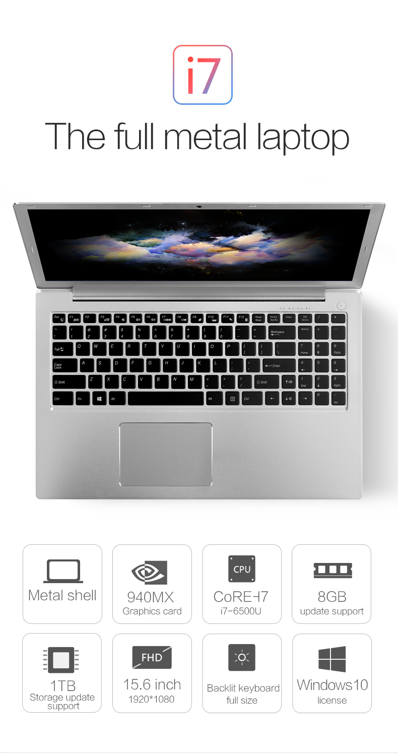 15.6 inch Laptop Computer Core i7 6500U Dedicated Card FHD Screen Backlit Keyboard Ultrabook PC with DDR4 8G RAM 128G SSD Type-C