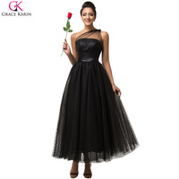 Grace Karin 2016 Sexy One Shoulder Black Evening Dress Long Soft Tulle Formal Dresses Ball Gown