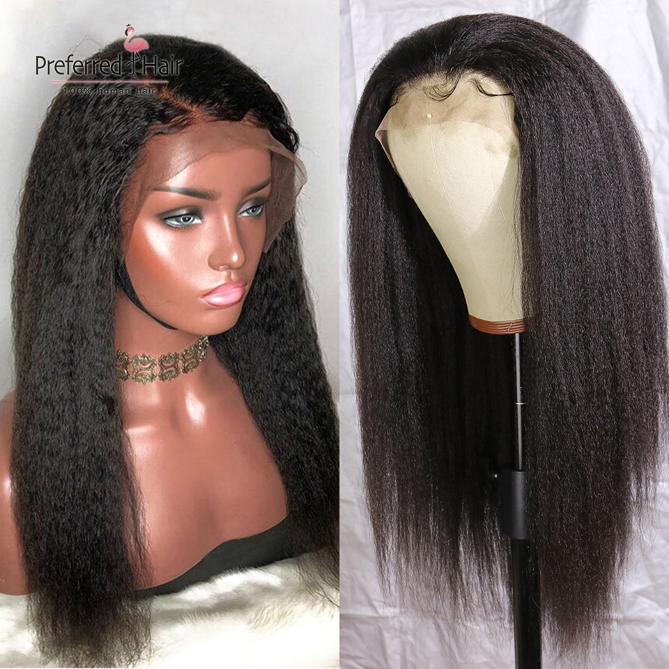 Preferred Pre Plucked 360 Lace Frontal Wig Brazilian Remy Hair Glueless Kinky Straight Full Lace Human Hair Wigs For Black Women