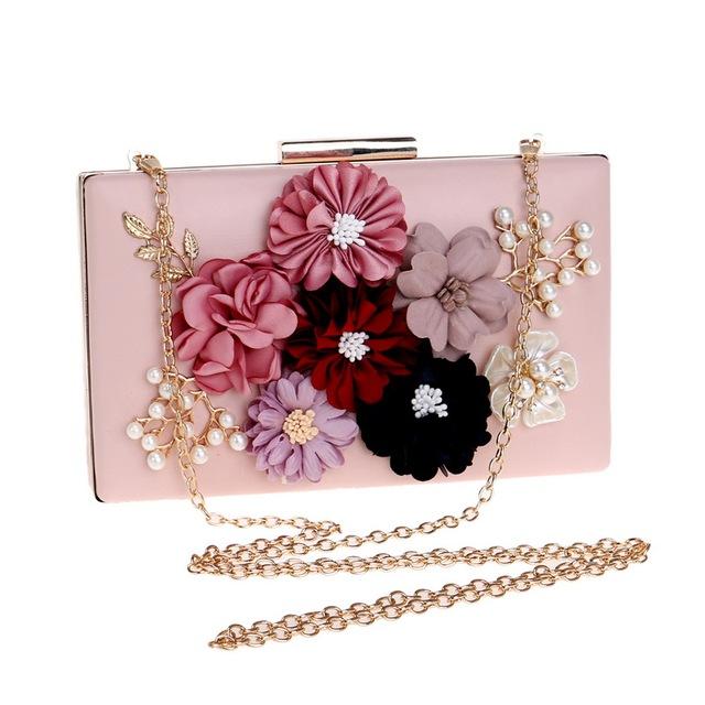 Fashionable Flower Beaded Lady Clutch Bag