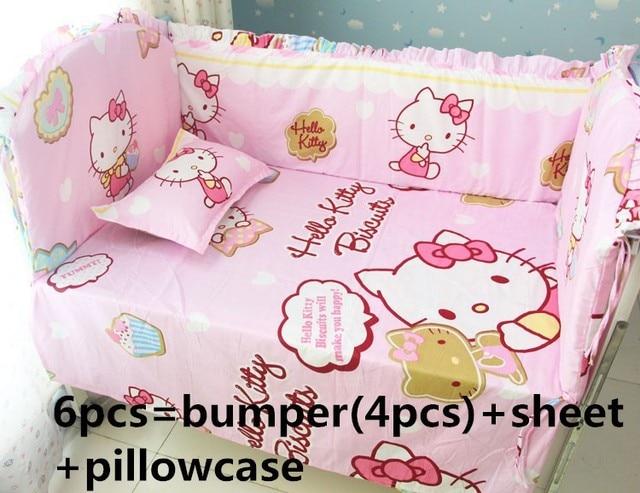 Promotion! 6/7PCS Hello Kitty Baby bedding set Cartoon crib bedding set 100% cotton bed clothes bed decoration , 120*60/120*70cm