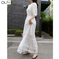 Lace stitching dress 2019 new round neck waist slimming sleeves swing DRESS beach dress for women