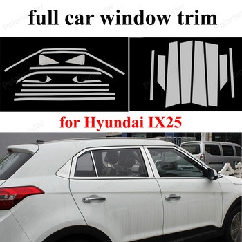 Car Styling full Window Trim with center pillar Decoration Strip For H-yundai IX25  Accessories Stainless Steel