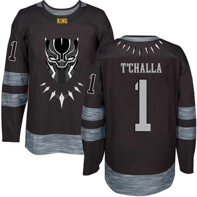MM MASMIG T'Challa #1 The Black Panther Hockey Jersey Stitched Black nyc 2015 7 rev 30 s xxl stitched jersey