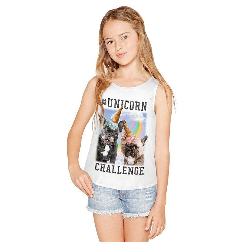 Raisevern Einhorn Hund Große Mädchen Weste 2019 Sommer Ärmellose Weste Mode Französisch Bulldog Party Gedruckt T O-ansatz Weste FöRderung Der Produktion Von KöRperflüSsigkeit Und Speichel