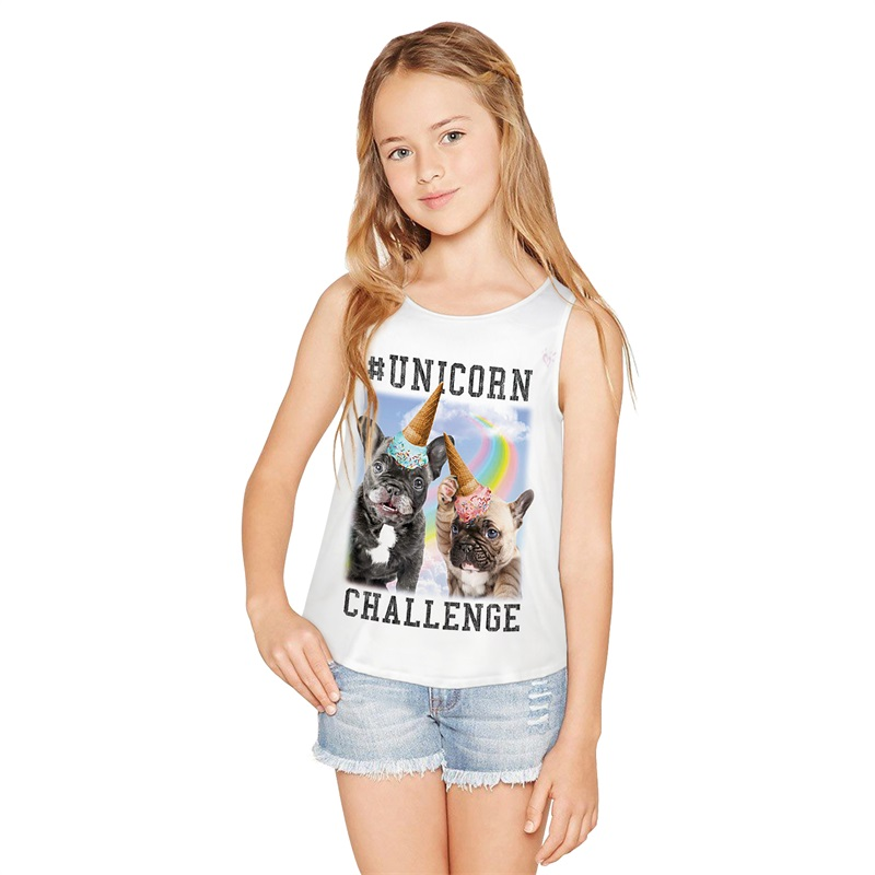 Raisevern Unicorn Dog Big Girl Vest 2019 Summer Sleeveless Vest Fashion French Bulldog Party Printed Tee O-Neck Vest