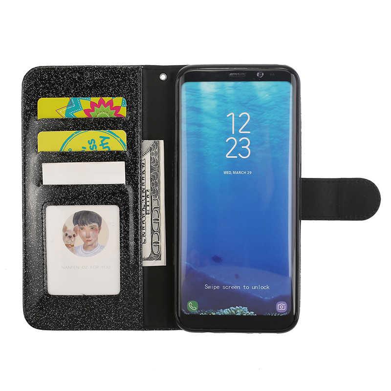 Flip Funda de cuero para Samsung Galaxy S9 S8 más S7 borde Nota 8 A5 J3 J5 2017 de la UE teléfono funda para mujer chica Bling cartera