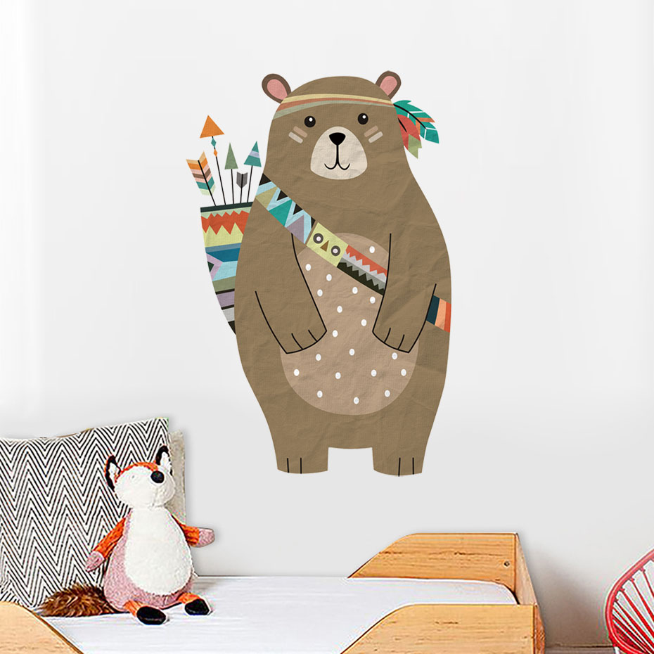 Image 3 - colourful Tribal Bear Wall sticker Woodland Animal Bear arrow decals For Children Room Tribal Nursery room Home Decor Murals Art-in Wall Stickers from Home & Garden