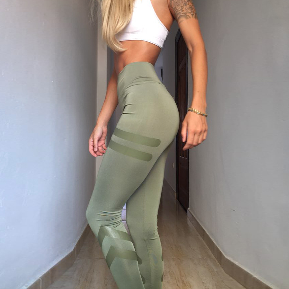 Two Lines Printed Push Up Leggings Elastic Casual Green Black Color Workout Pants Fitness High Waist Slim Leggings Women