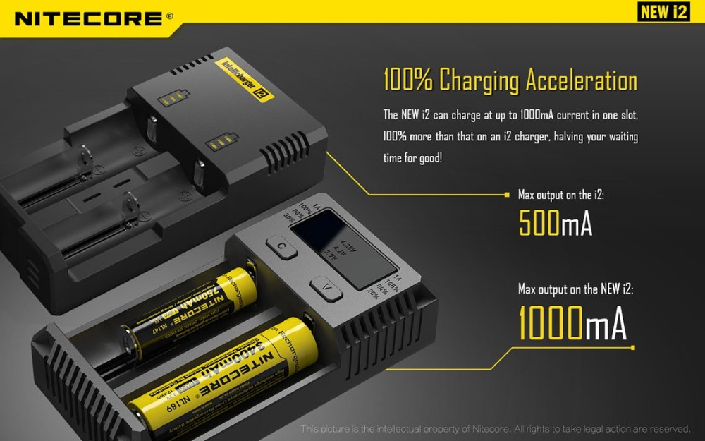 100% Original Nitecore i2 Battery Charger New i2 for 16340 10440 AA AAA 14500 18650 26650 Battery Charger Universal Charger-2