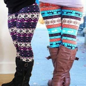 Autumn Winter Women Leggings Snowflake Christmas Deer Print Slim Bottoms Long Pants High Waist Sweatpants Plus Size Trousers