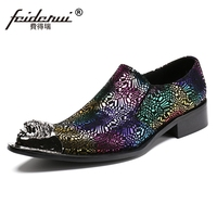Plus Size Elegant Formal Pointed Toe S Lip On Man Runway Loafers Genuine Leather Metal Tipped