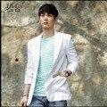 S-3XL CALIENTE! 2016 de Corea del verano Para Hombre blanco Delgado traje de lino delgado pequeña chaqueta de traje de lino blazers ropa de abrigo trajes del cantante