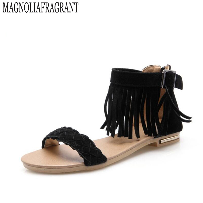 2017 footwear Female summer shoes Women Suede Fringe  gladiator sandals women Tassel Big Size 40-43 zapatillas mujer z23  new pompom wild thing fringe suede sandals women summer wlegance