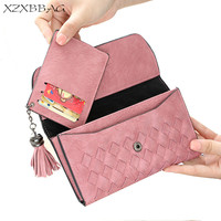 XZXBBAG Fashion Knitting Tassels Women Wallet Lady Big Capacity Multiple Card Holder Long Purse Female Hasp
