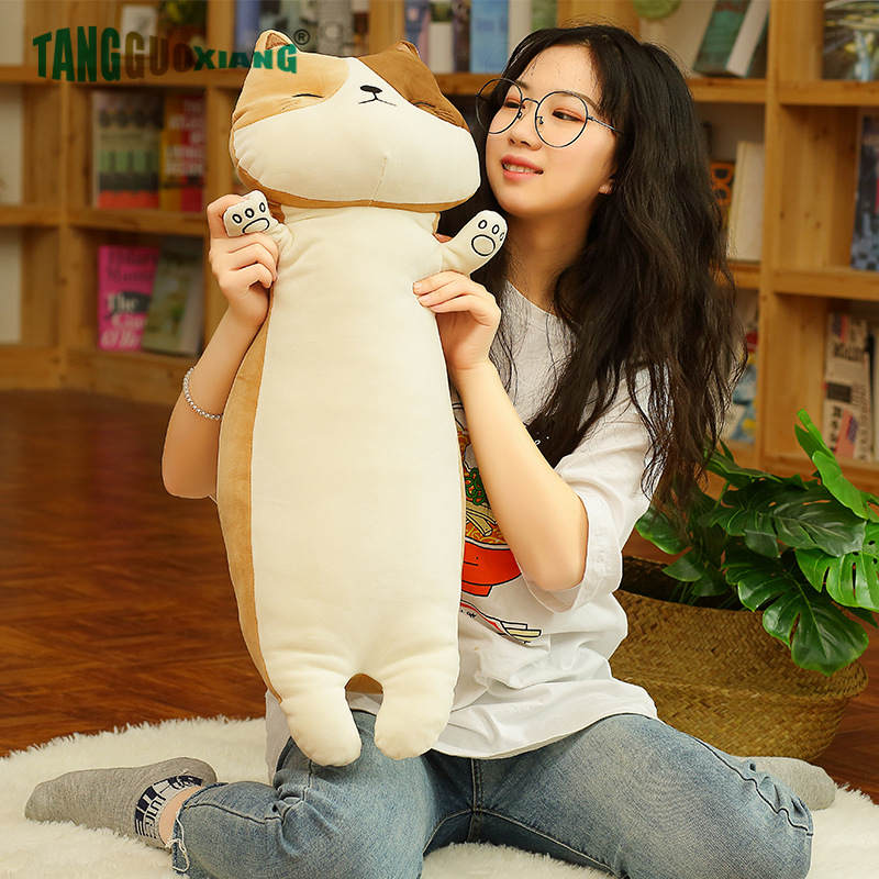 75cm Kawaii Shiba Inu Cat Husk Plush Toys Soft Stuffed Pillows Baby Sleeping Toy Cusion Birthday Xmas Gift For Kids Girls